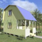 Двухэтажный каркасный дом 4х4 с террасой 1,5х4 – фото
