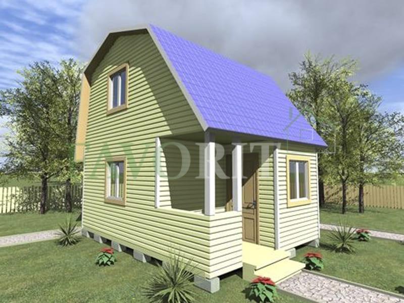 Двухэтажный каркасный дом 4х4 с террасой и верандой 1,5х2 – фото