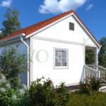 Каркасный дом 4х5 с террасой и верандой 1,5х2,5 – фото