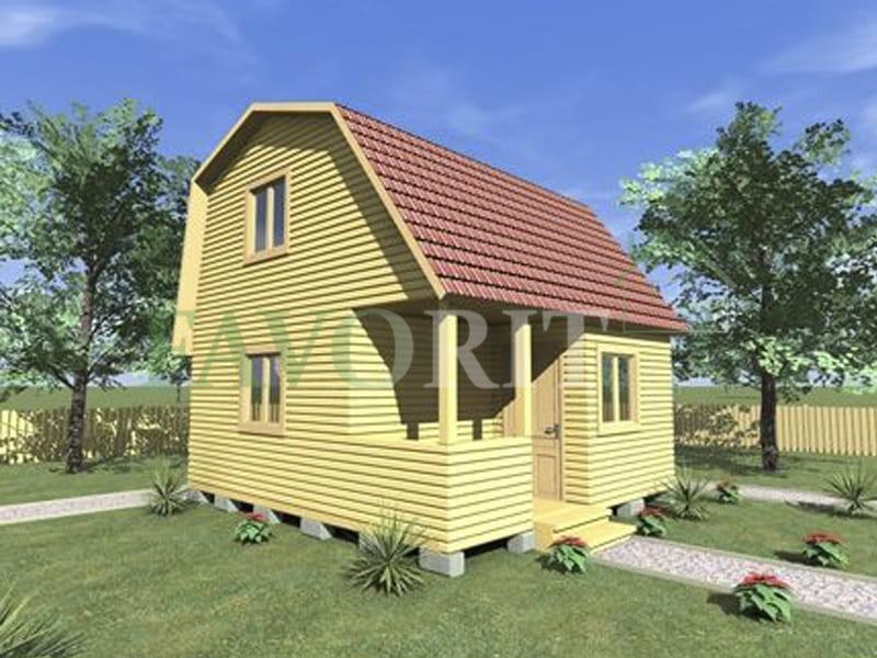 Двухэтажный каркасный дом 4х5 с верандой 1,5х2,5 – фото