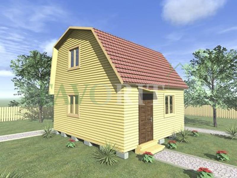 Двухэтажный каркасный дом 4х5 с верандой 1,5х5 – фото