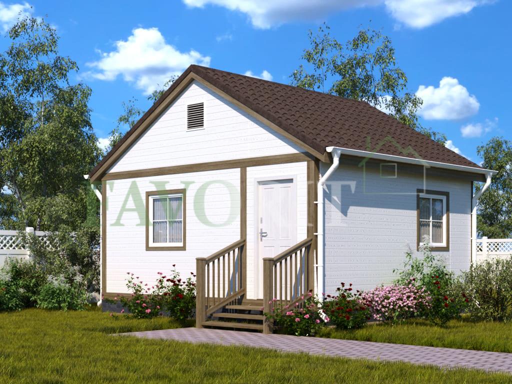 Каркасный дом 4х5 с верандой 1,5х5 – фото