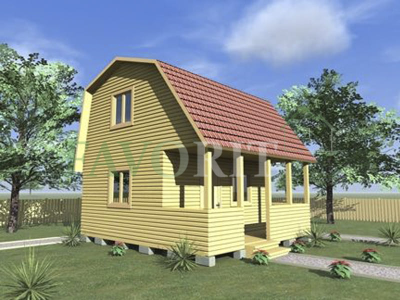 Двухэтажный каркасный дом 4х6 с террасой 1,5х6 – фото