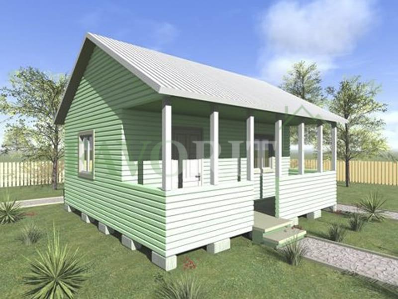 Одноэтажный каркасный дом 4х6 с террасой 1,5х6 – фото