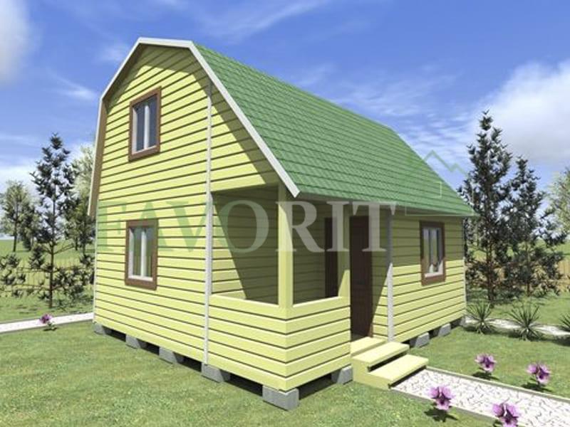 Двухэтажный каркасный дом 4х6 с террасой и верандой 1,5х3 – фото