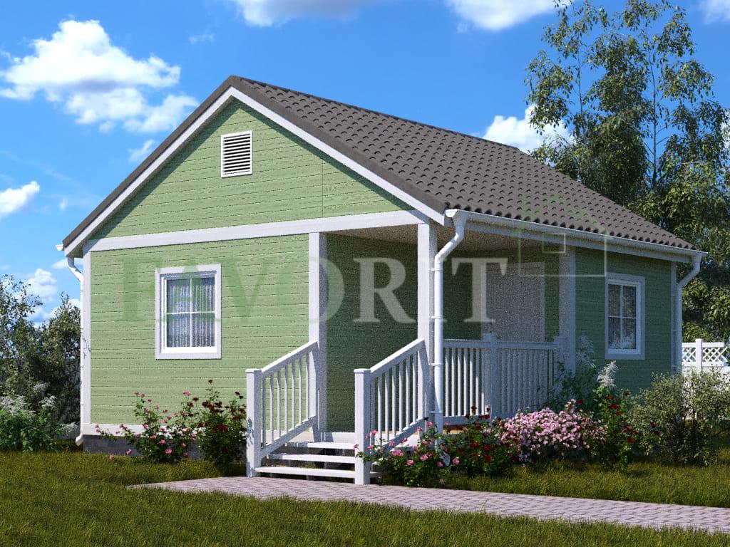 Каркасный дом 4х6 с террасой и верандой 1,5х3 – фото