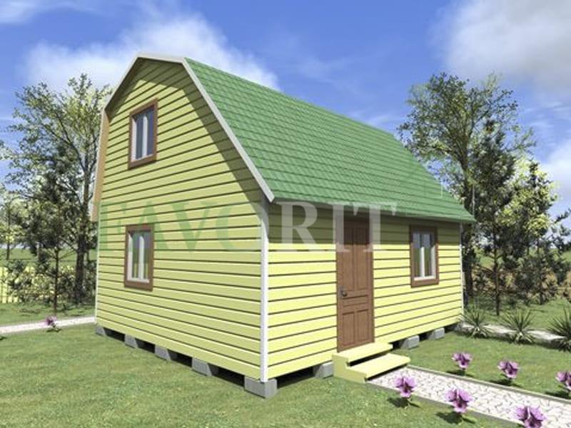 Двухэтажный каркасный дом 4х6 с верандой 1,5х6 – фото