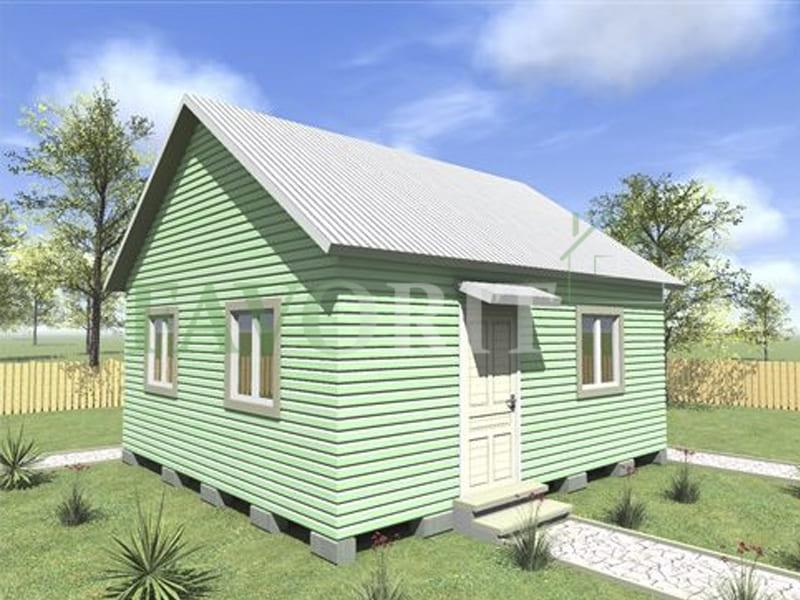 Одноэтажный каркасный дом 4х6 с верандой 1,5х6 – фото