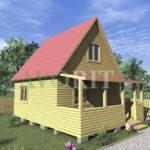 Двухэтажный каркасный дом 5х5 с террасой 1,5х5 – фото