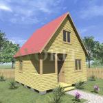 Двухэтажный каркасный дом 5х5 с террасой и верандой 1,5х2,5 – фото 1