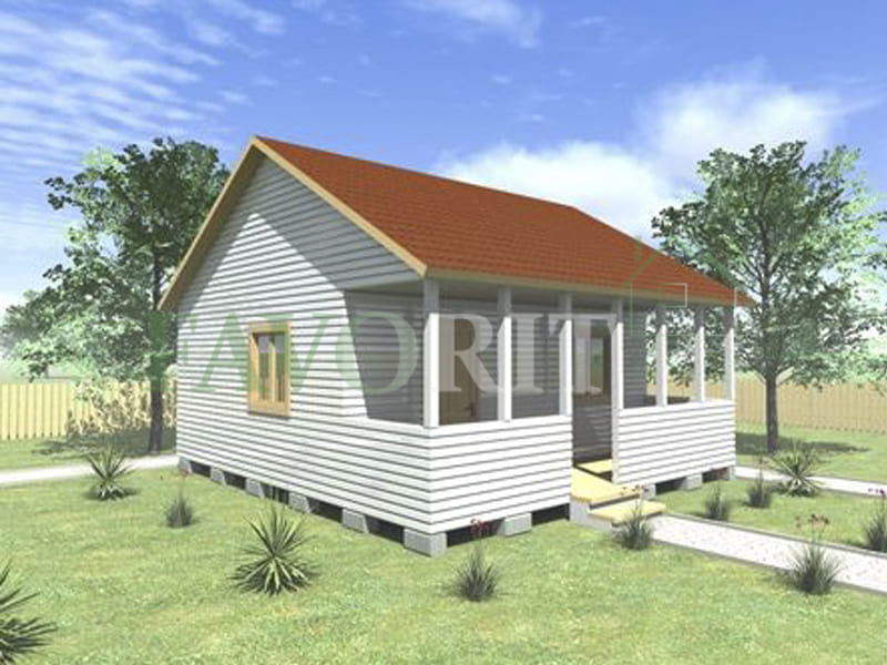 Одноэтажный каркасный дом 5х6 с террасой 1,5х6 – фото