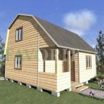 Двухэтажный каркасный дом 5х6 с террасой и верандой 1,5х3 – фото