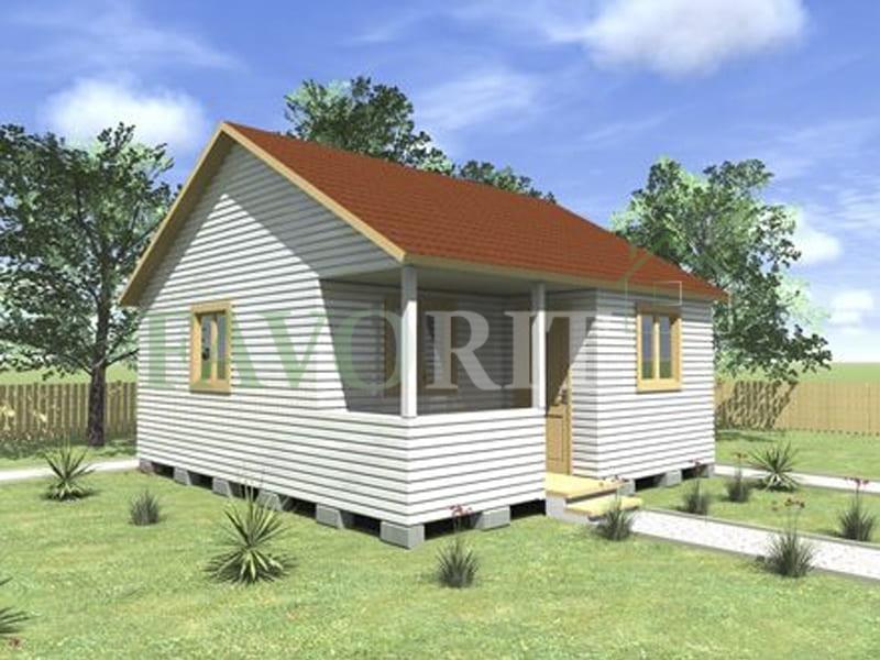 Одноэтажный каркасный дом 5х6 с террасой и верандой 1,5х3 – фото