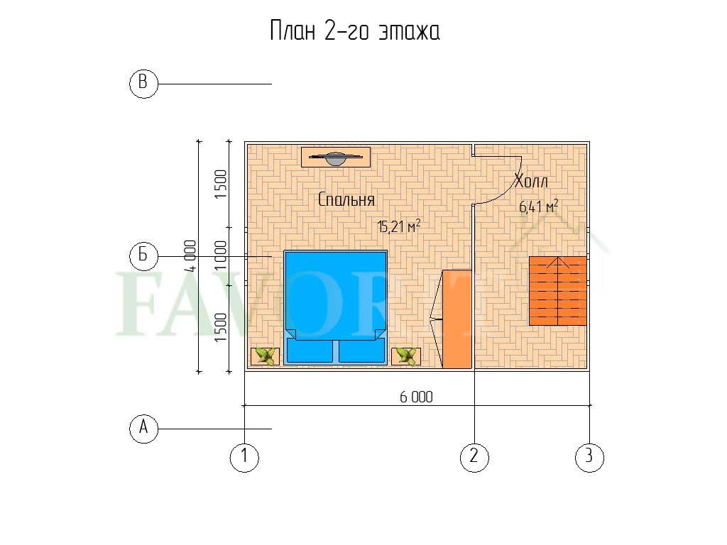 Планировка 2 этажа каркасного дома 6х6 с террасой 1х2