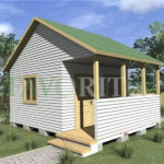 Одноэтажный каркасный дом 4х4 с террасой 1,5х4 – фото