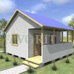Одноэтажный каркасный дом 4х5 с террасой 1,5х5