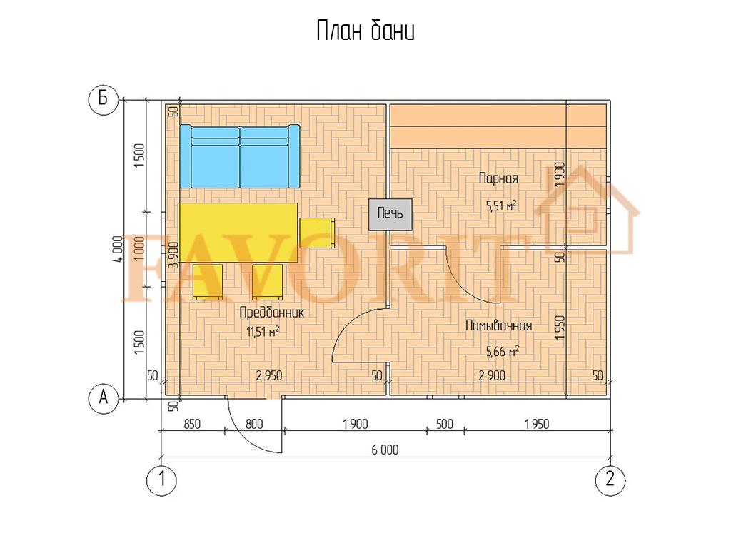 Планировка каркасной бани 4х6