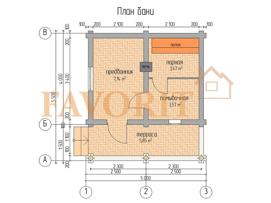 Баня из бревна 4х5 с террасой 1,5х5 (пятистенок) – планировка