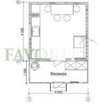 Одноэтажный дом из бруса 4х4 с верандой 1,5х4 – план