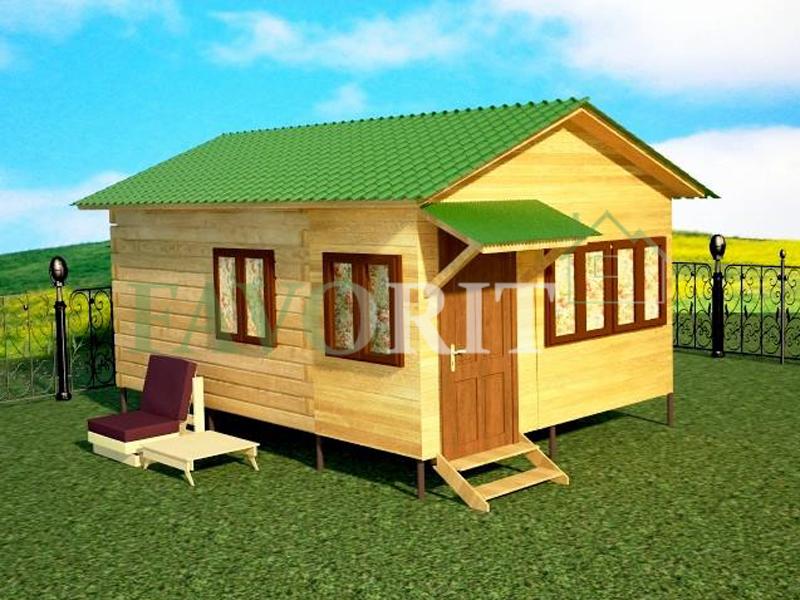 Одноэтажный дом из бруса 4х4 с верандой 1,5х4 – фото